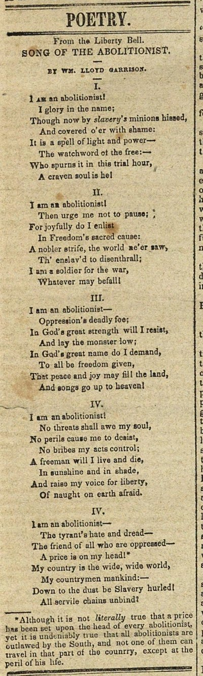 Poetry: Song Of The Abolitionist image