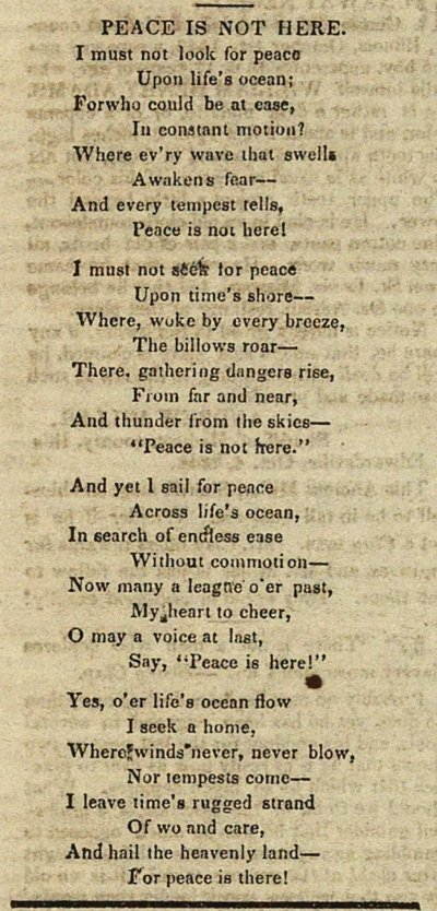 Poetry: Peace Is Not Here image