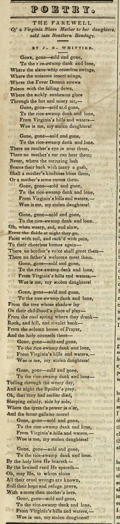 Poetry: The Farewell Of A Virginia Slave Mother To Her Daug... image