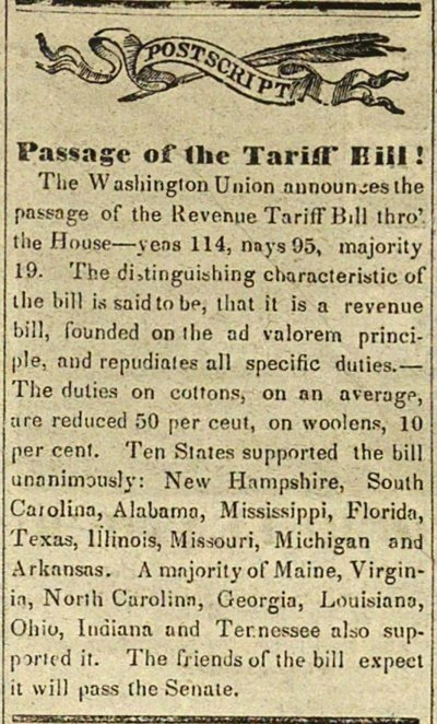 Postscript Passage Of The Tariff Hill! image