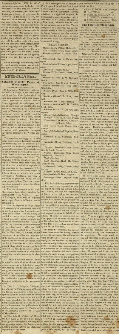 Anti-slavery: National Liberty Paper At Washington: Report O... image