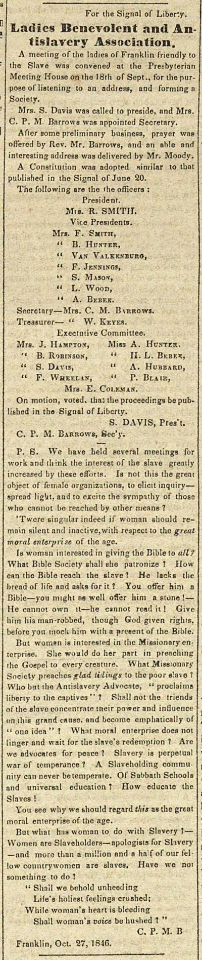 Ladies Benevolent And Antislavery Association: For The Signa... image