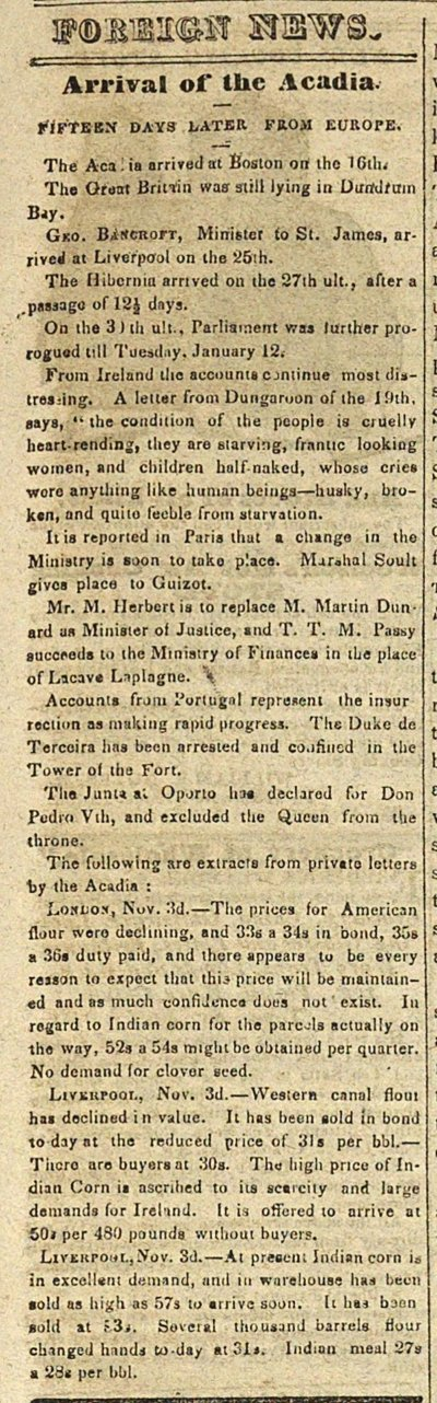 Foreign News: Arrival Of The Acadia: Fifteen Days Later From... image