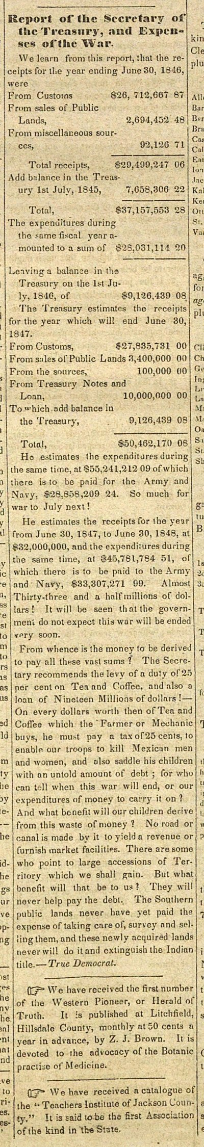 Report Of The Secretary Of The Treasury, And Expenses Of The War image