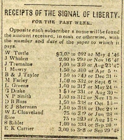 Receipts Of The Signal Of Liberty: For The Past Week image