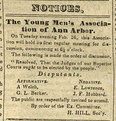 Notices: The Young Men's Association Of Ann Arbor image