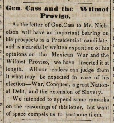 Gen. Cass And The Wilmot Proviso image
