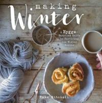 Book cover showing photo of yarn, tea, and cinnamon rolls.