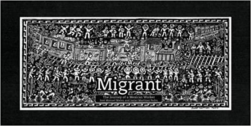 Picture of the book cover, showing a drawing of dozens of people jumping onto a moving train.
