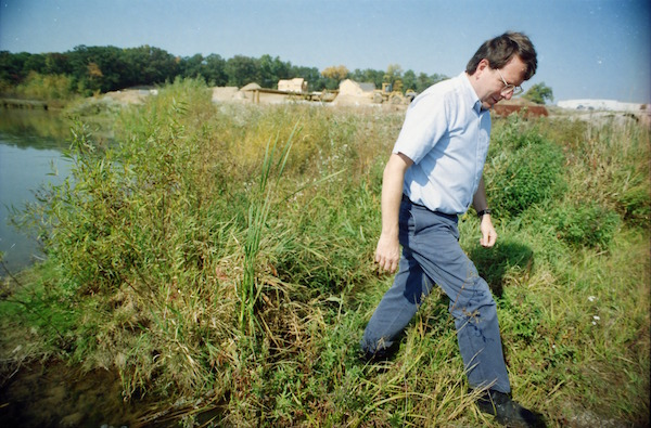Roger Rayle inspects tributary, September 1997
