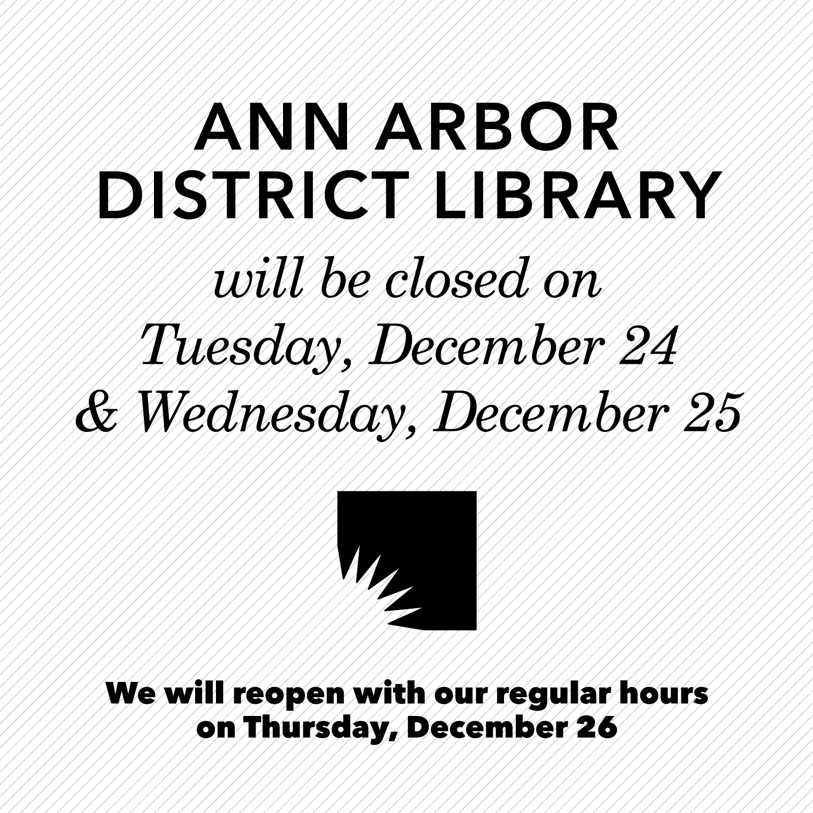 Dec 24-25 Closed