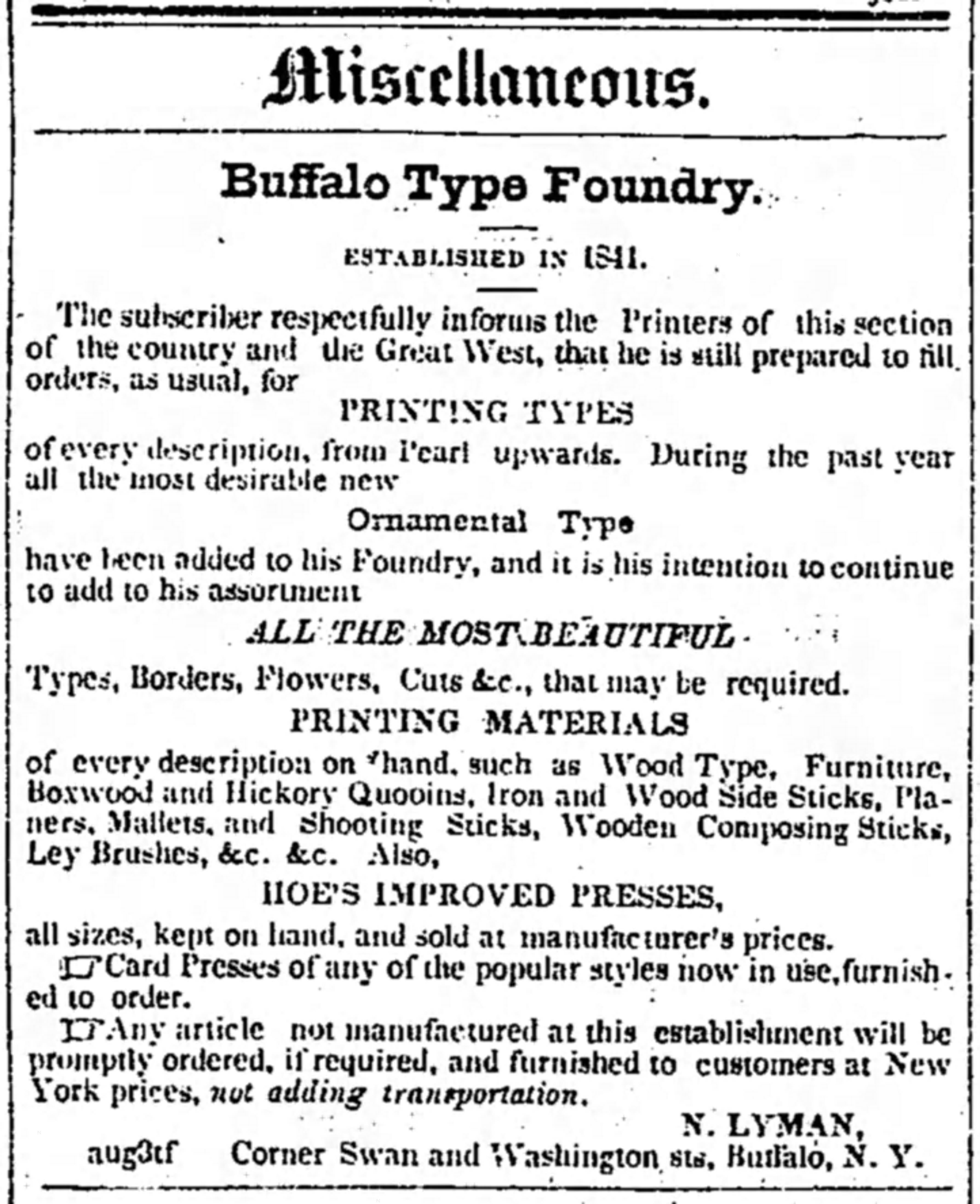 Detroit Free Press ad for Buffalo Type Foundry