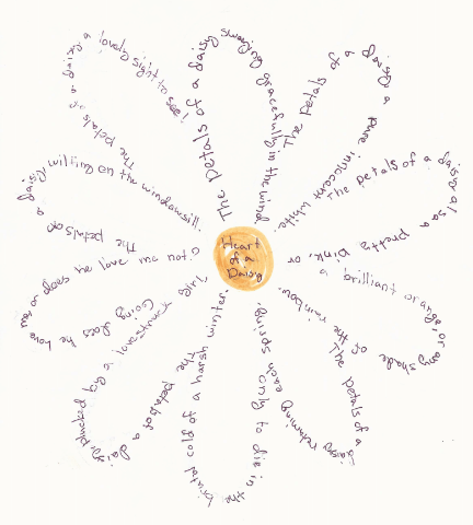 picture of poem shaped as a daisy