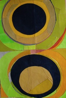 Suzanne Hodges. Vertically-oriented painted fabric collage. A set of circles on top of another set of circles in the colors of green, orange, black and maize.