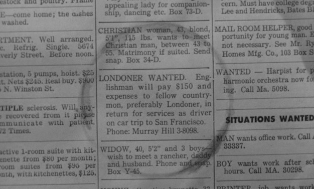The classified ad that draws in Charlie Raymond.