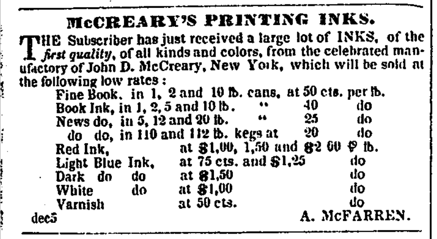 Detroit Free Press Ad for McCreary's Printing Ink