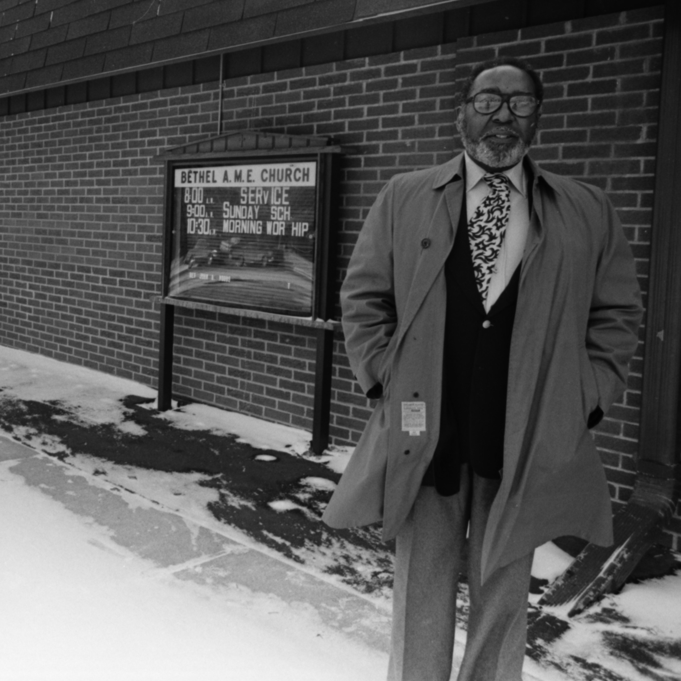 Richard D. Blake stands in front of Bethel AME Church