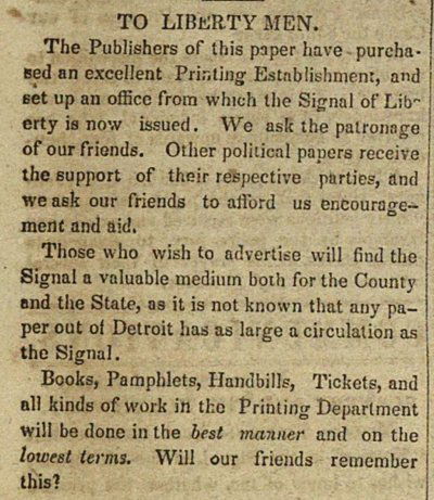 Signal of Liberty article, March 27, 1843