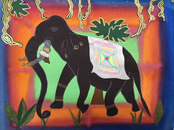 Rudolph Steiner student work. Watercolor painting of black elephant with ornately decorated tusks on a green, orange, and indigo background.