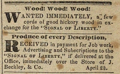 Advertisements for Wood and Produce