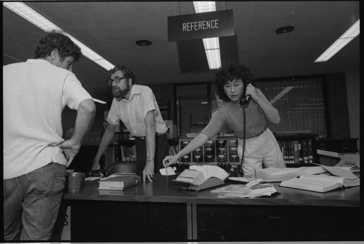 Reference Librarians, Dietmar Wagner & Susie Chen - The Ann Arbor Public Library, July 1980