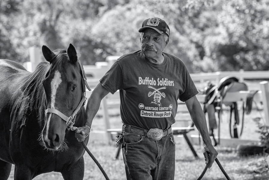 A man walks and leads a horse by the reins in the paddock.
