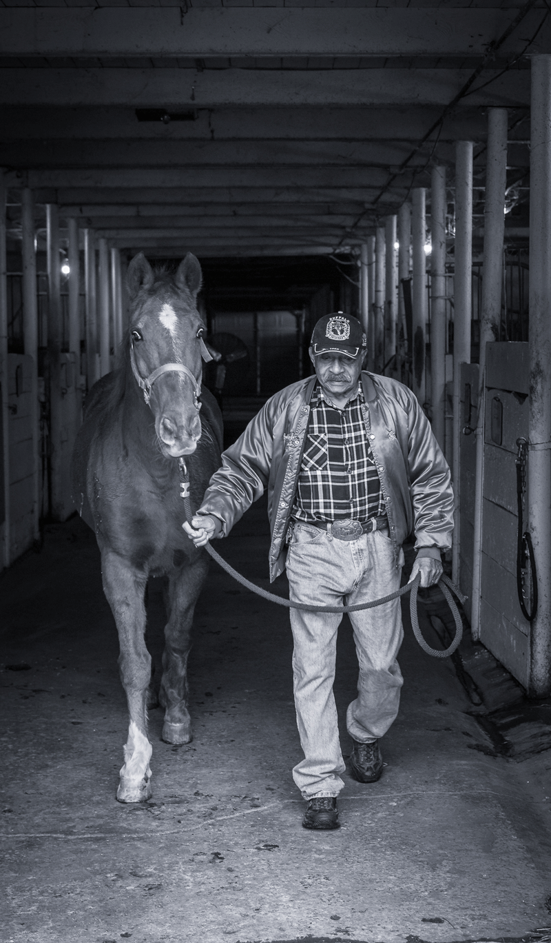 A man leads a horse through the stable to the outdoors.