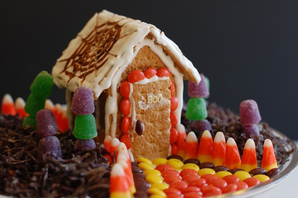 graham cracker house decorated in candy