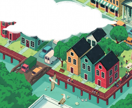 A colorful illustration of an aerial view of a neighborhood.
