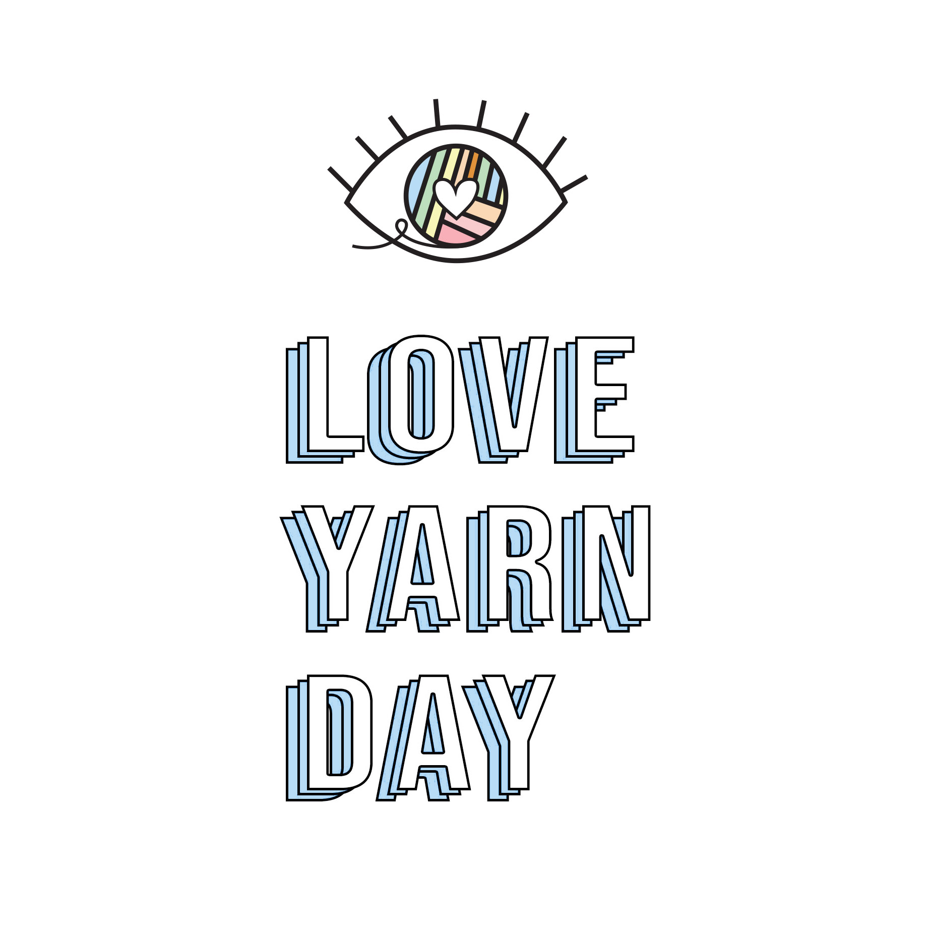 image of an eye plus words, love yarn day