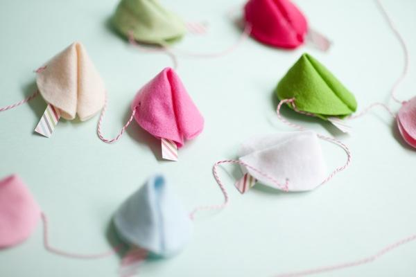 felt fortune cookie garland