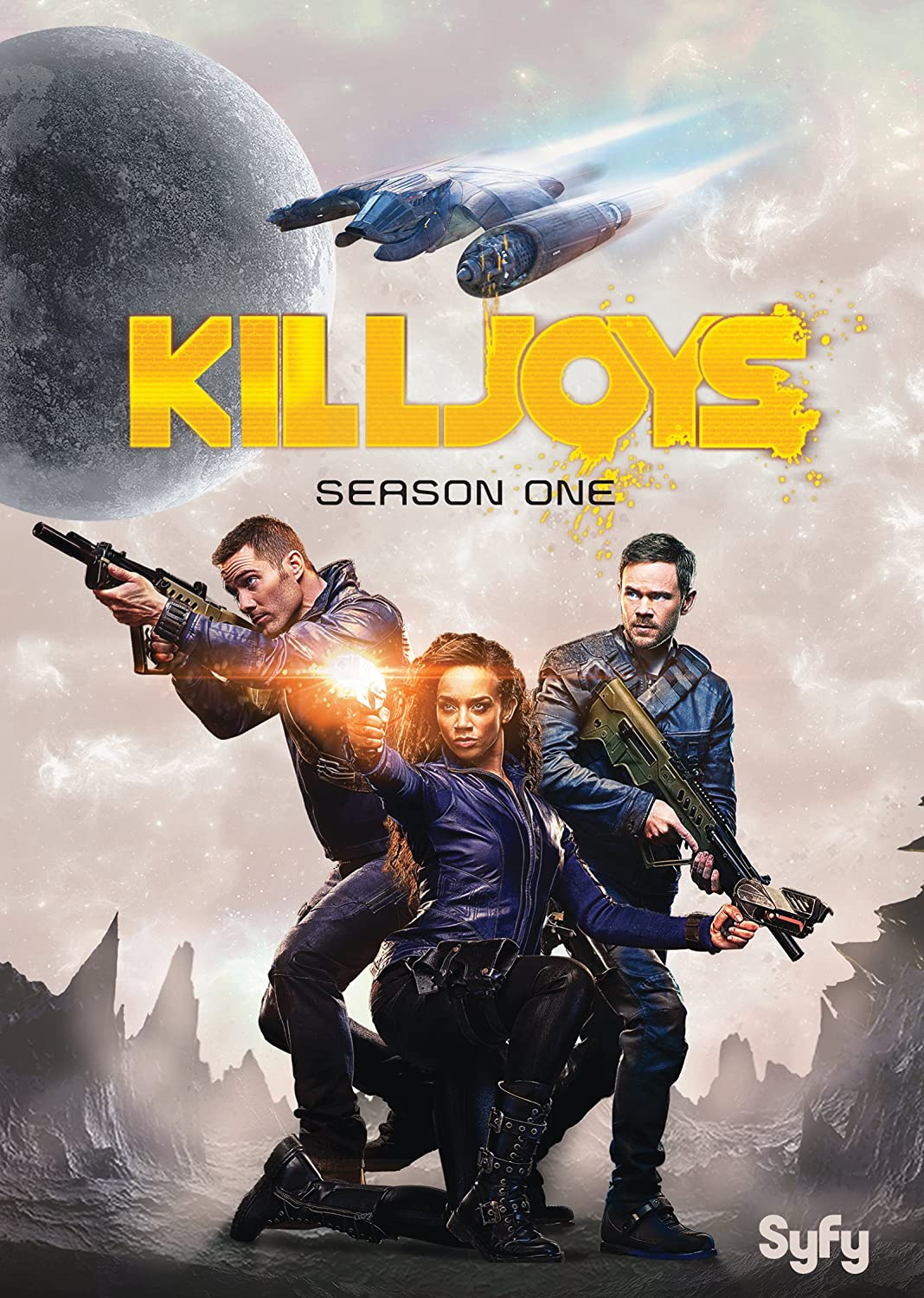 Killjoys Season One cover art: three science fiction bounty hunters stand with weapons ready.