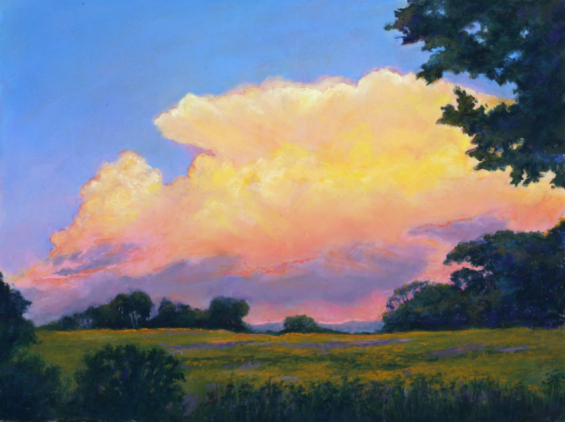 pastel painting of grassy field and purple and pink sunset