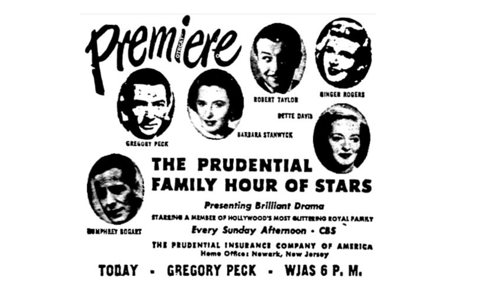 "The newspaper ad for the premiere of ""The Prudential Family Hour of Stars"""