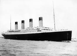 Black and white photo of the RMS Titanic