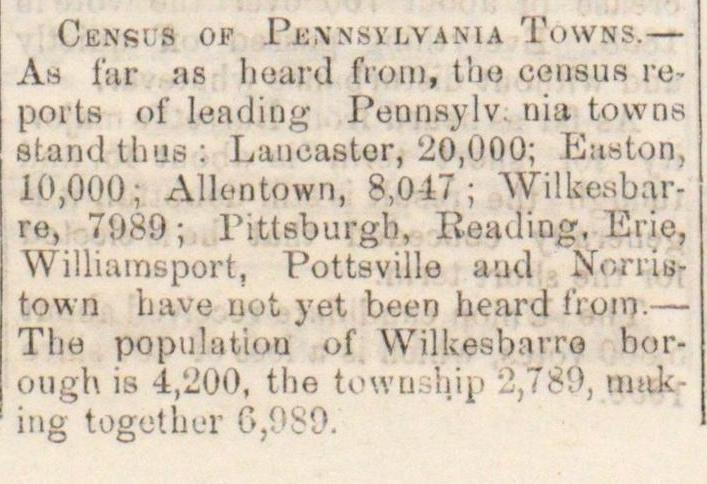 Census Of Pennsylvania Towns image