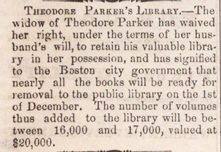 Theodore Parker's Library image