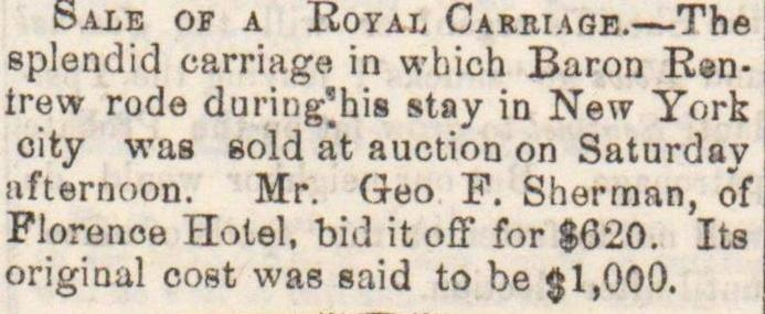 Sale Of A Royal Carriage image
