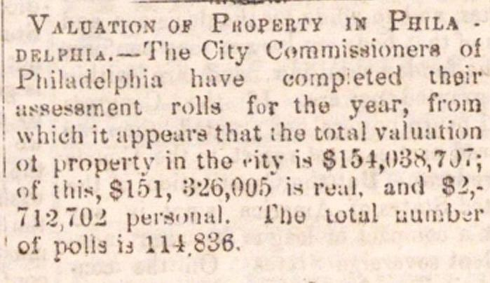 Valuation Of Property Is Philadelphia.--the City Commissioners Of image