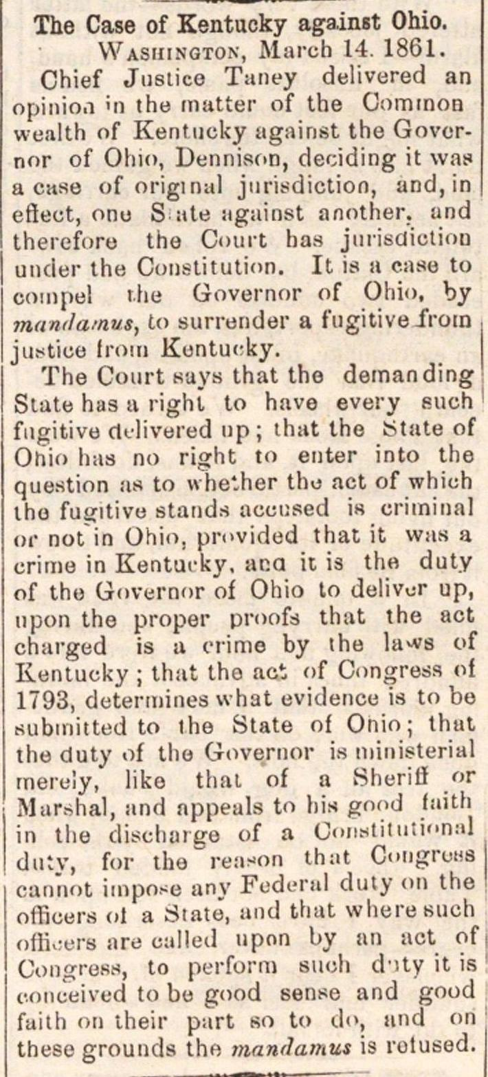 The Case Of Kentucky Against Ohio image