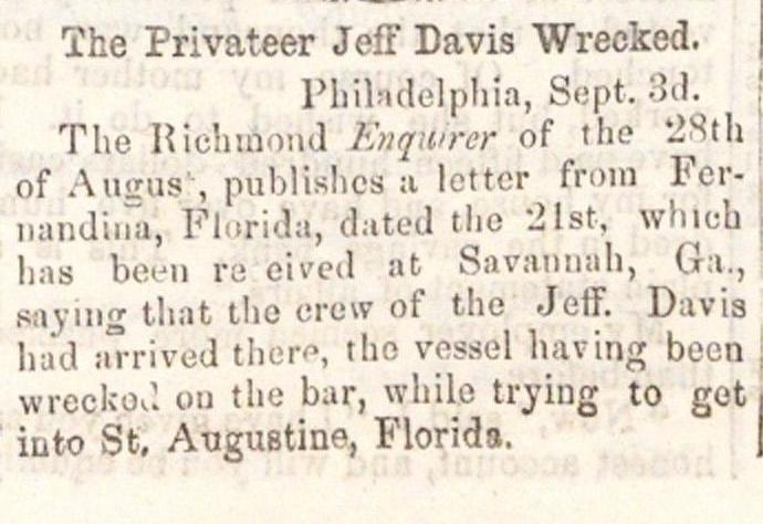 The Privateer Jeff Davis Wrecked image