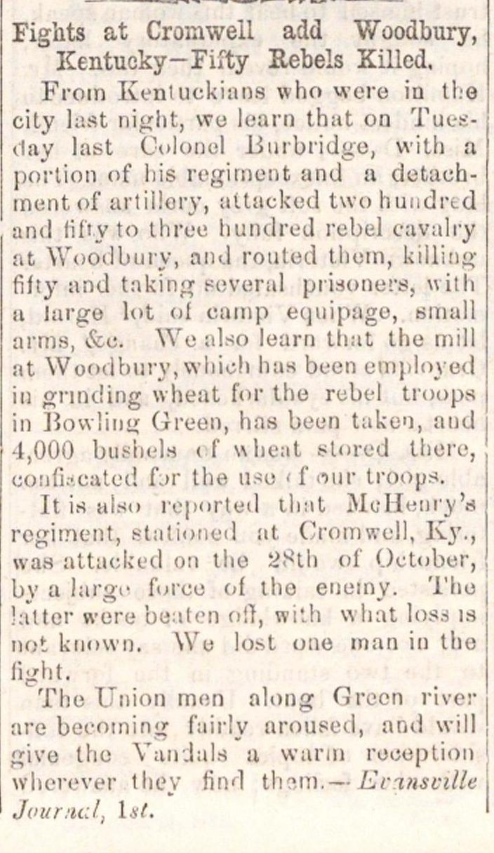 Fights At Cromwell Add Woodbury, Kentucky--fifty Rebels Killed image