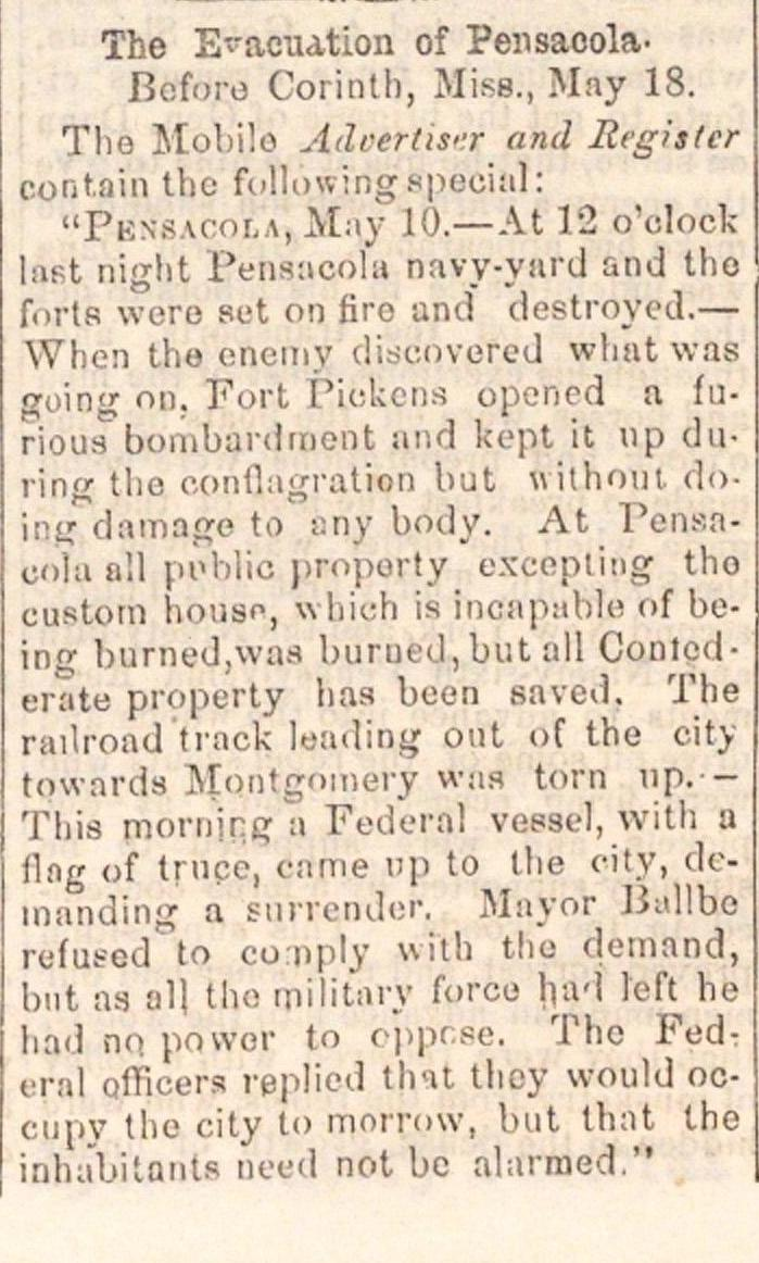 The Evacuation Of Pensacola image