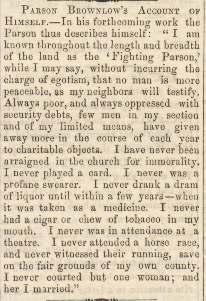 Parson Brownlow's Account Of image