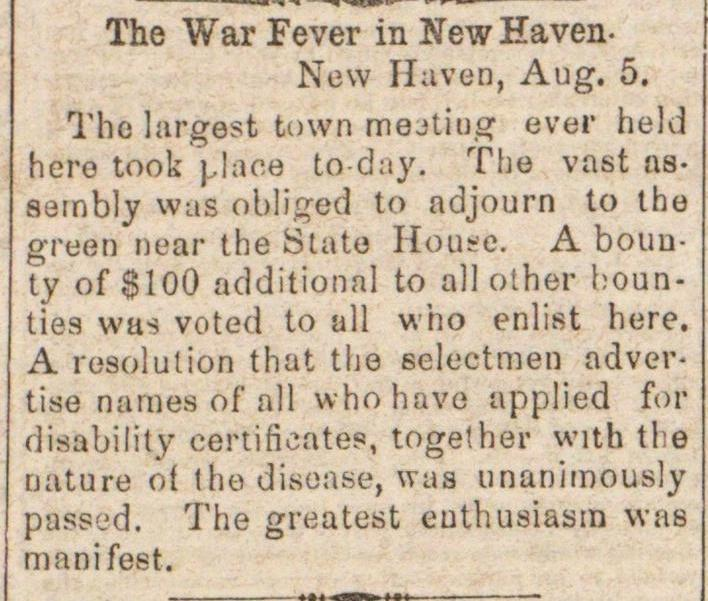 The War Fever In New Haven image