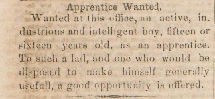 Apprentice Wanted image