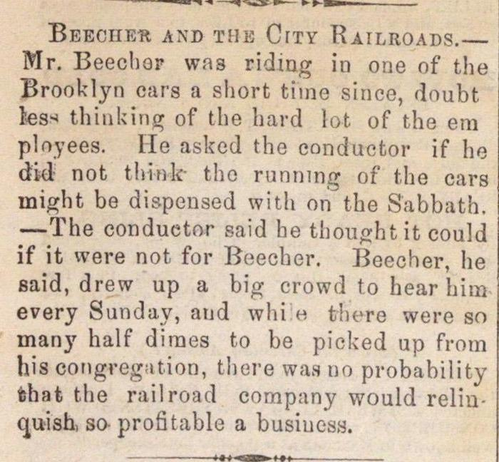 Beecher And The City Railroads image