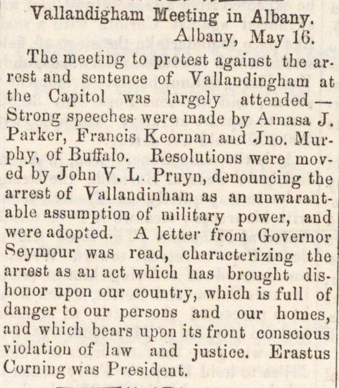 Vallandigham Meeting In Albany image