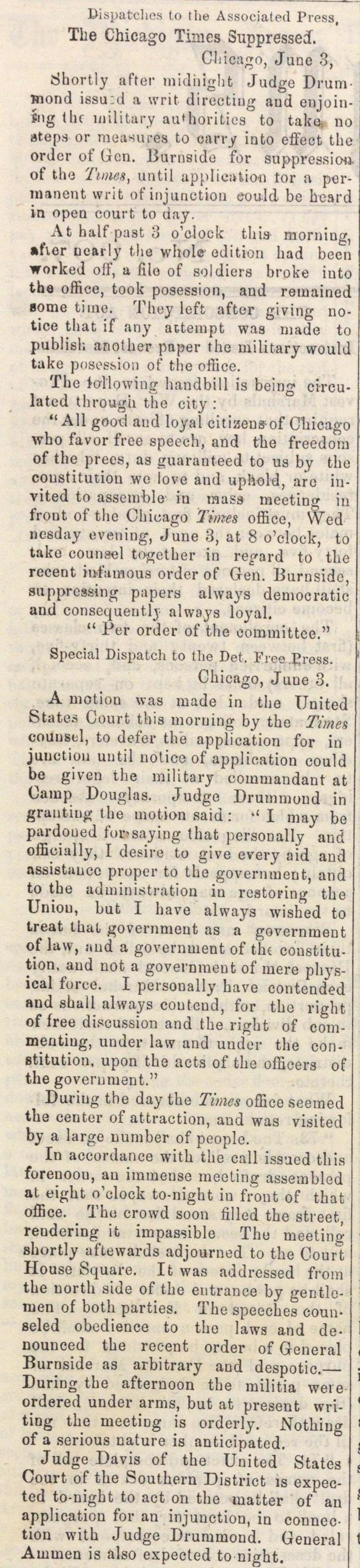 The Chicago Times Suppressed image