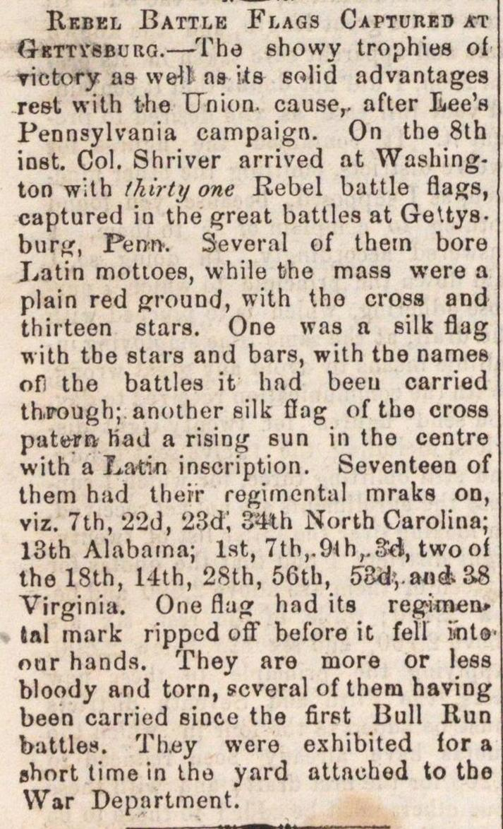 Rebel Battle Flags Captured At Gettysburg image